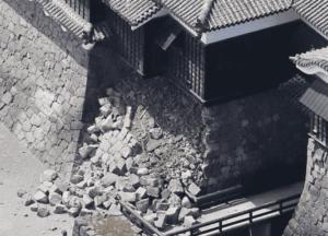 熊本城石垣崩れる