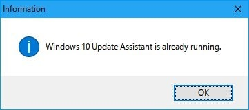 Windows10 update Assistant is already running