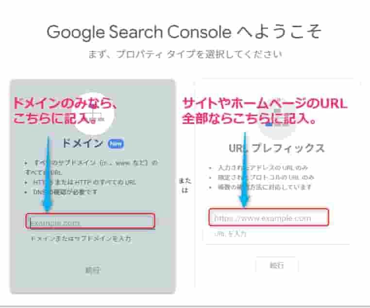 Search ConsoleURL変更ドメインとURLの場合